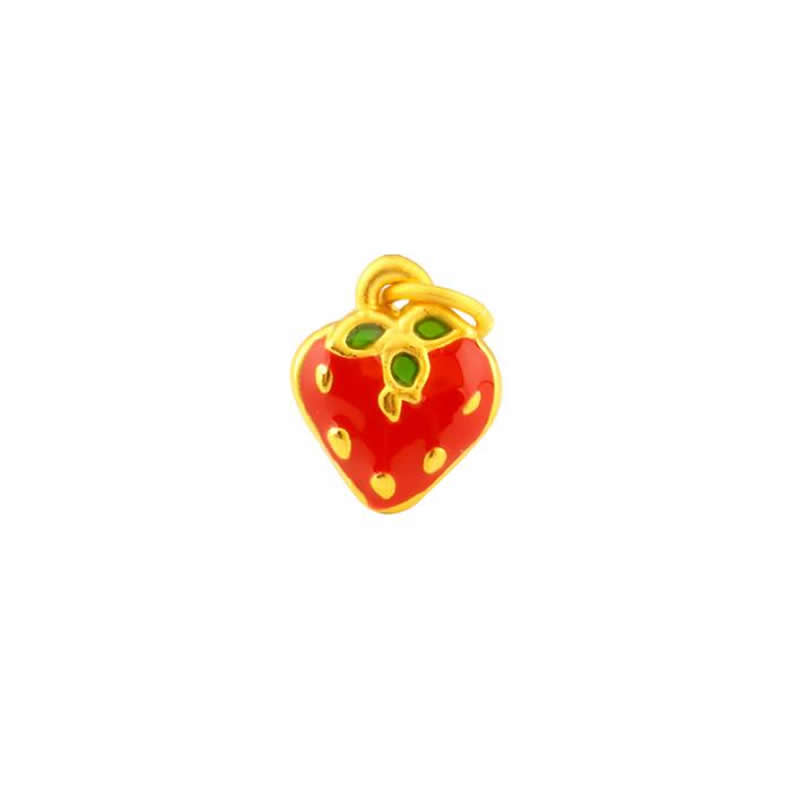 Solid 24K Yellow Gold Pendant 999 Gold Colourful Strawberry Necklace Pendant 1.25gSolid 24K Yellow Gold Pendant 999 Gold Colourful Strawberry Necklace Pendant 1.25g