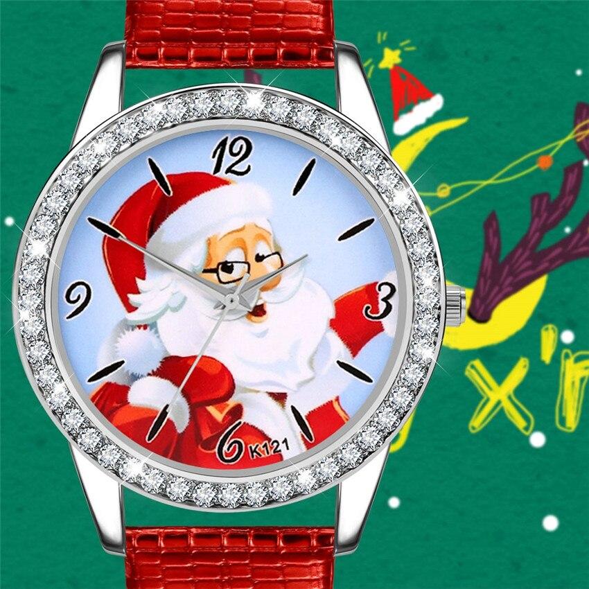 Women Girl Kid Quartz Wristwatch Christmas Gift Cartoon Santa Claus Christmas Jewelry
