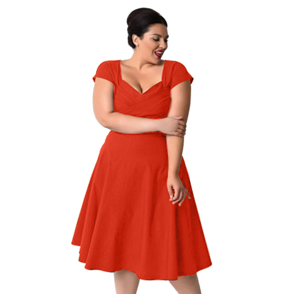 Plus Size Womens Casual Summer Dress V Neck Formal Evening Party Swing Polyester Dress in Navy and Orange Vestido De Verano