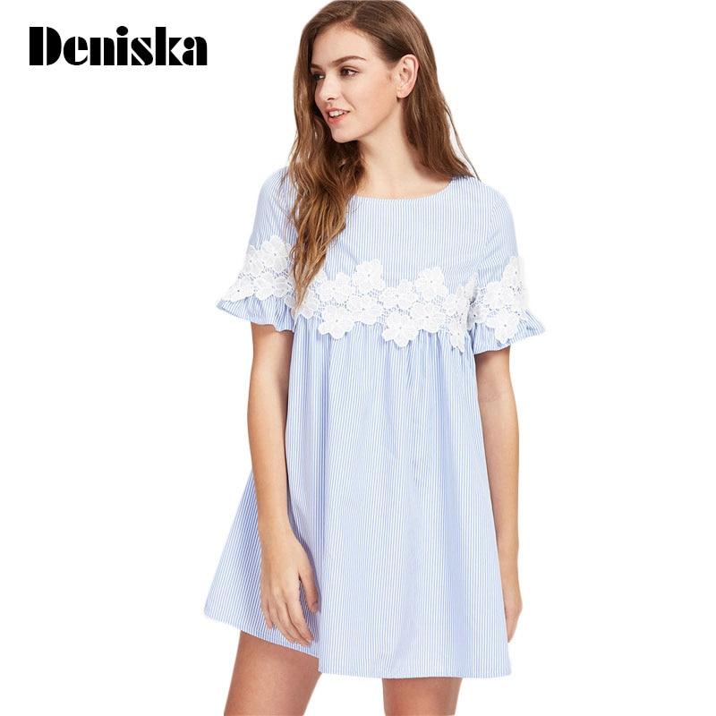 DENISKA Women Blouses and Tops European Style Korean Women Clothing Striped  Ruffle Sleeve Babydoll Top Blouse 8ce4d72a53b4