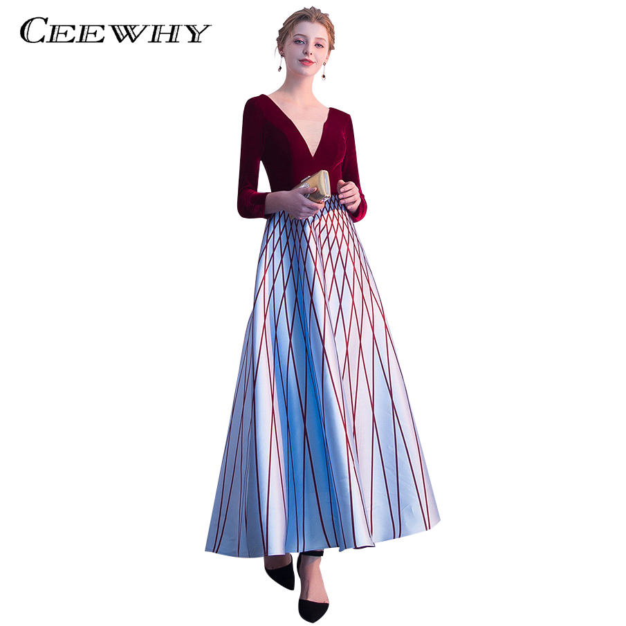 CEEWHY Plaid Long Sleeve Prom Dresses 2018 Burgundy Party Dress ...