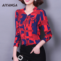 New Fashion Long Sleeve Chiffon Blouses For Women OL Style Office Ladies Elegant Print Shirts Female