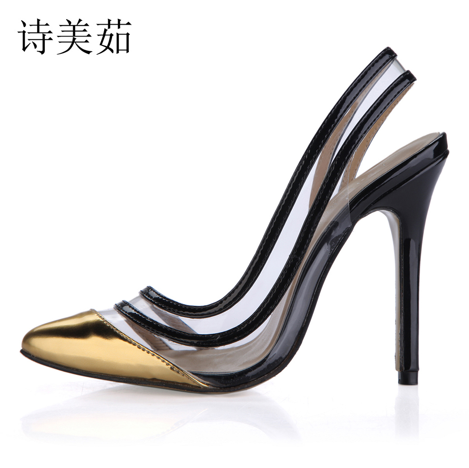 2017 Summer Sexy Party Shoes Women Pointed Toe Stiletto Super High Heels Sling back Ladies Pumps Chaussure Femme Talon 0640-19a 2017 new ivory sexy wedding bridal shoes women pointed toe stiletto super high heels chain lace lady pumps zapatos mujer 0640 f5
