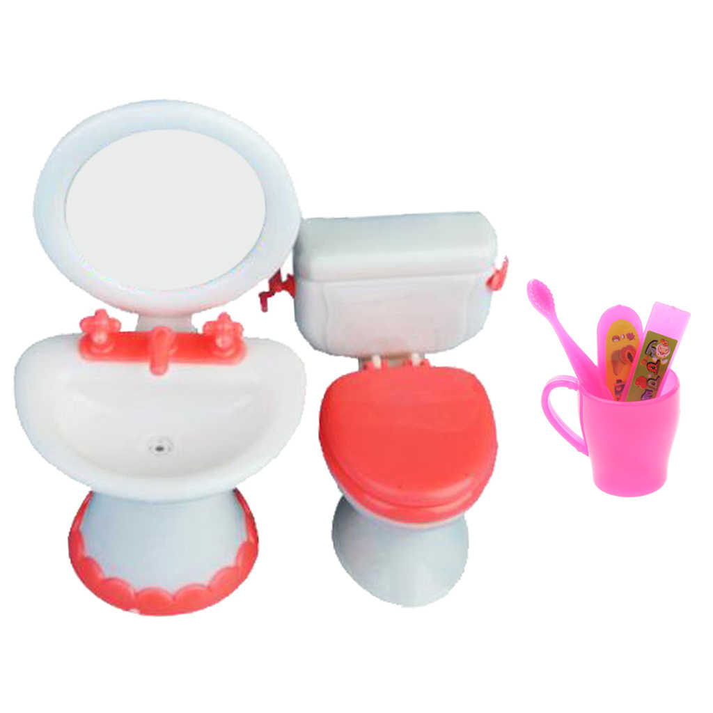 8/8 Scale Miniature Toilet+Sink+Toothbrush Bathroom Furniture for