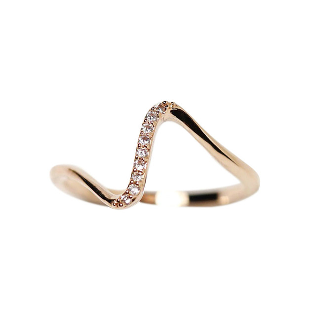 2018 Fashion Women Girl Simple Design Wave Rings Lovers Ring Jewelry