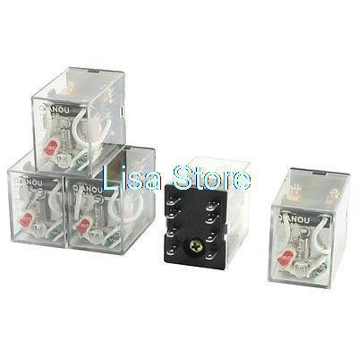 5pcs Red LED Indicator Light AC 220/240V Power Relay DPDT 2NO 2NC HH52P MY2J цена и фото