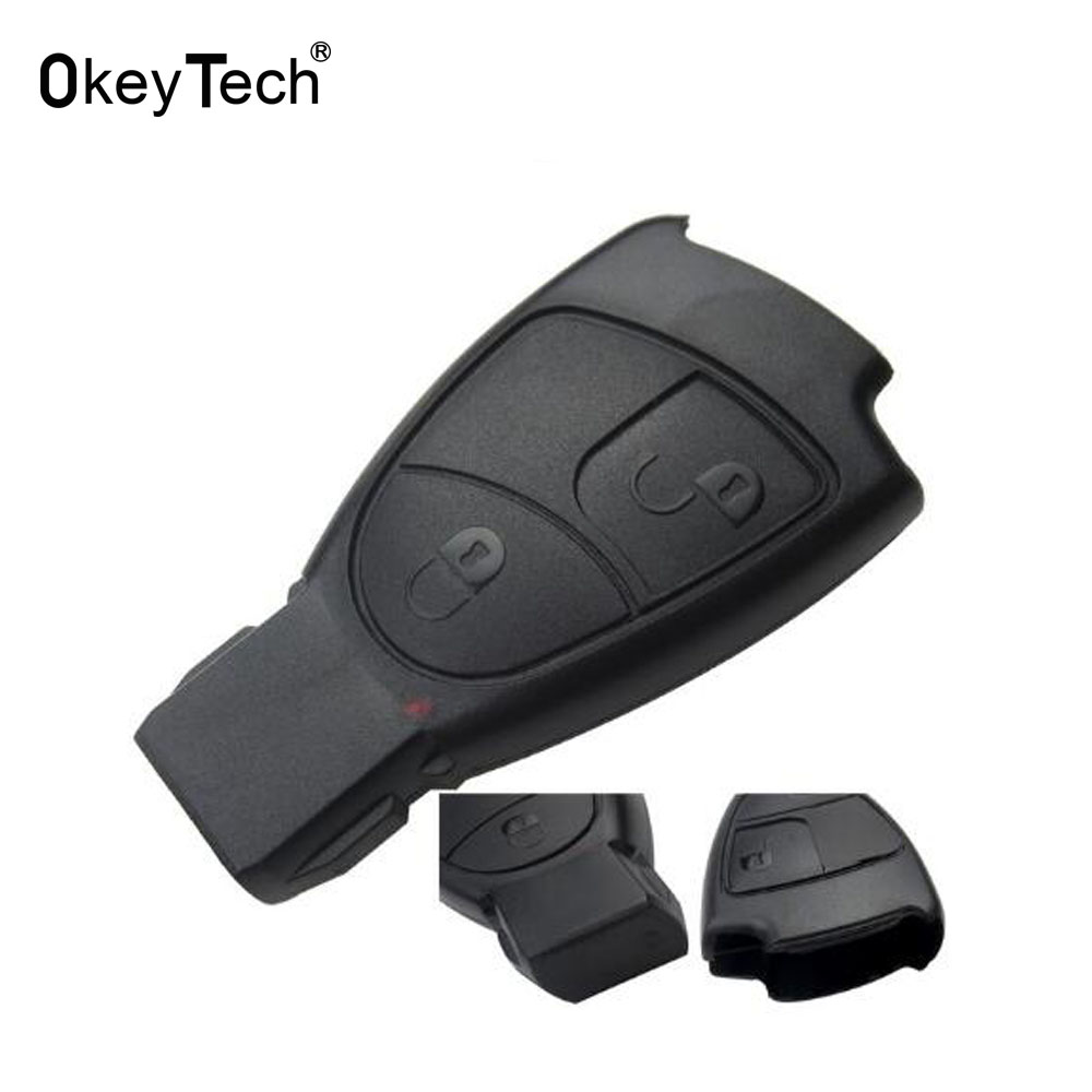 OkeyTech For MB Mercedes Benz C E ML S SL SLK CLK AMG Smart Key Case Soft 2 Button Remote Car Key Shell Cover Case Replacement
