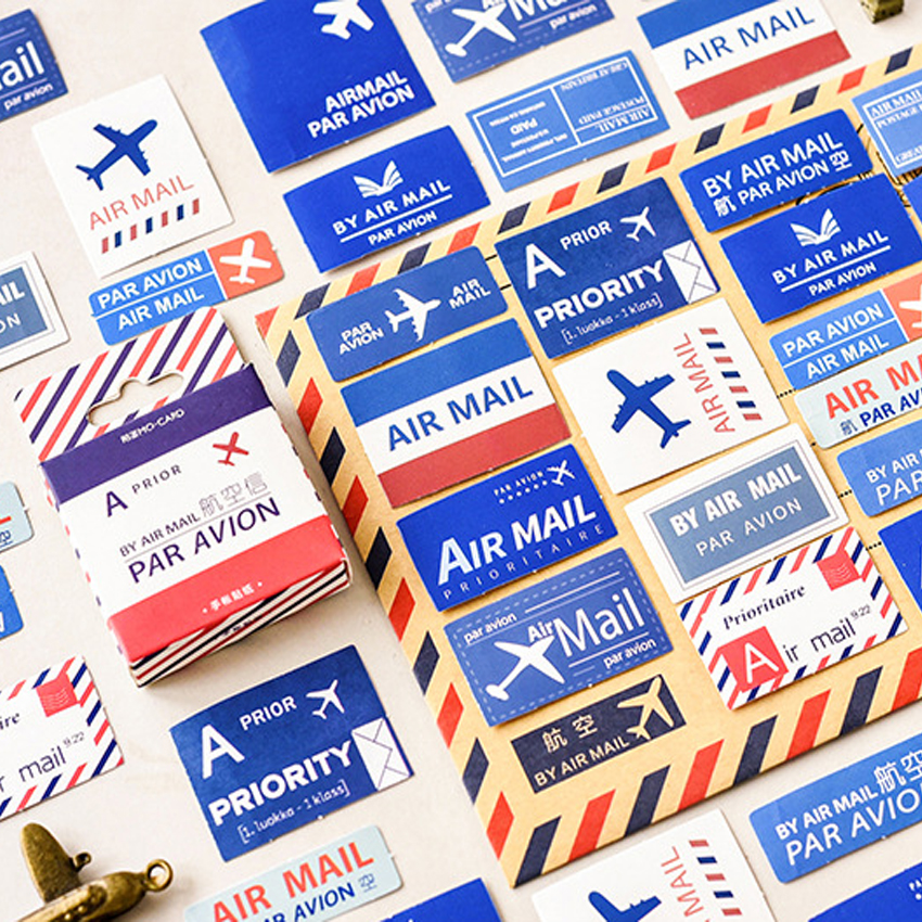 45pcs/pack Vintage Air Mail Decorative Adhesive Memo Sticky Diary Stickers Scrapbooking Stationery Sticker Student Supplies