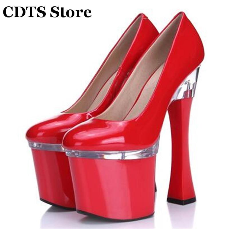 ФОТО CDTS zapatos mujer Plus:34-44 multicolor fashion high-heeled 20cm thick heel platform women wedding shoes Crossdresser pumps