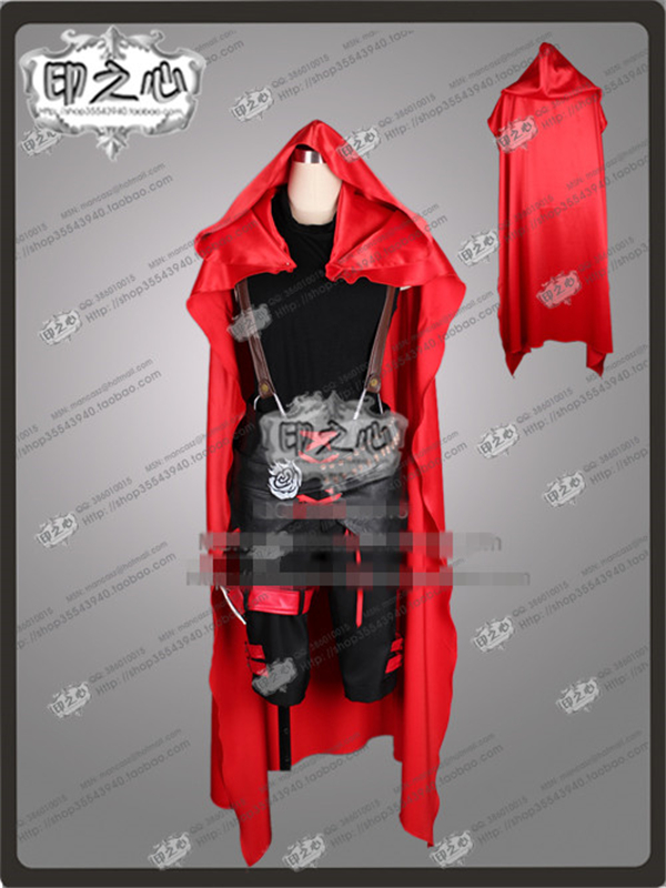 Anime RWBY Ruby Rose Little Red Riding Hood Combat Black Cosplay Costume Shirt+Pants+Cloak