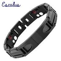 Titanium Bracelet 4 In 1 Magnetic Jewelry 2016 Black Edition Carbon Fiber Cool Men Germanium Free
