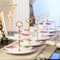 Eurpoe Pastoral Bone China Double Decker Plates Fruit Dishes Cake Plate Candy Dish Ceramic Tray Porcelain Tableware Decoration
