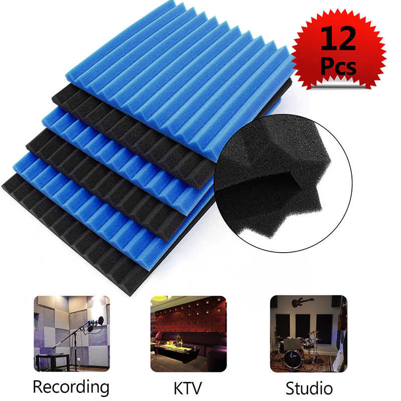 12 قطعة عازل للصوت الصوتية إسفين استوديو رغوة لوحات الحائط ل KTV غرفة الصوت غرفة استوديو ل KTV ، المسرح المنزلي الأسود الأزرق رغوة