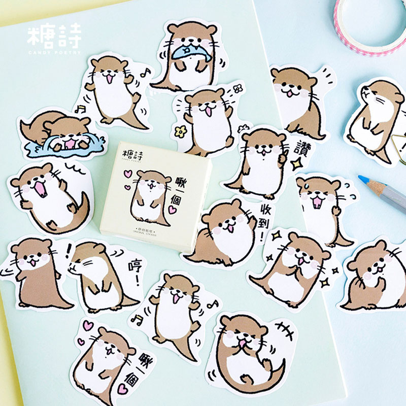 45PCS Cute Animal Otter Animal Decorative Washi Stickers Scrapbooking Stick Label Diary Stationery Album Stickers TZ191