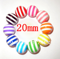 Free shipment! 100 Pcs Mixed color Chunky beads style large 20mm round striped Resin loose beads (W02759)