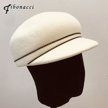 Fibonacci Juventude cap Viseira Original tampas de chapéus de feltro de lã Inglaterra Equestrian Cavaleiro Moda feminina Chapéu Outono e inverno chapéu de Feltro