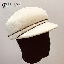 פיבונאצ י נוער Visor כובע ייחודי צמר הרגיש כובעי אביר אנגליה רכיבה כובעי אופנה נשי כובע סתיו וחורף מגבעות לבד