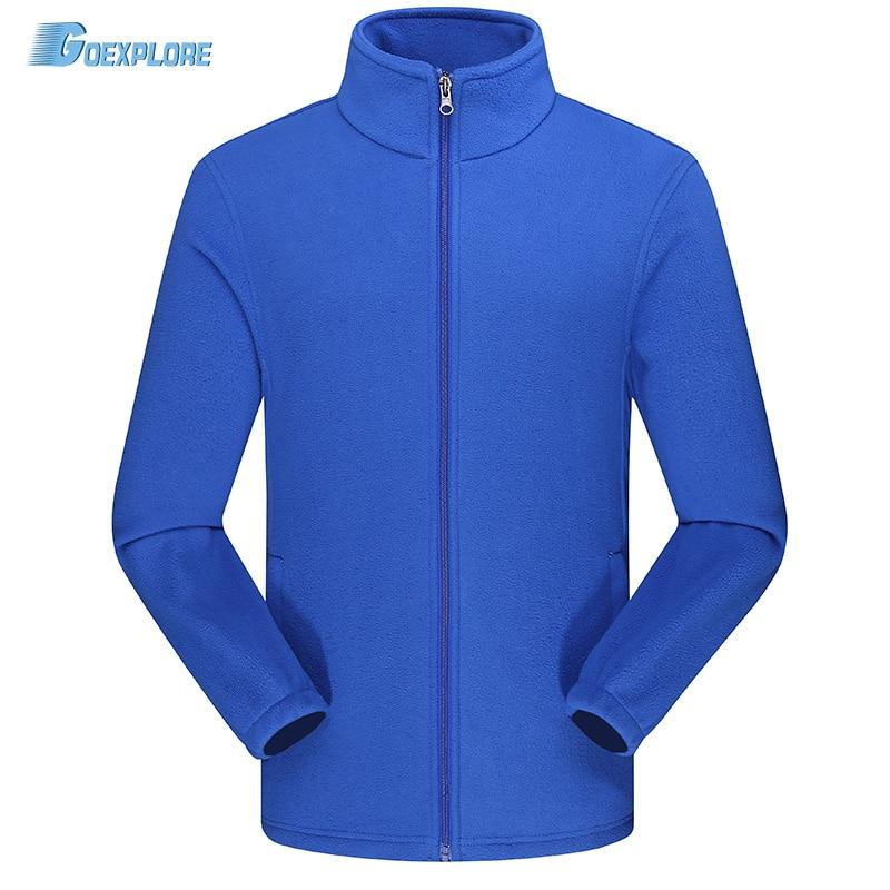 Goexplore Thermal Fleece Jacket Men Full Zip Long Sleeve Lightweight Casual Coat Outdoors Polar Outdoor Hiking Camping Jackets sleeve patched shoulder zip bomber jacket