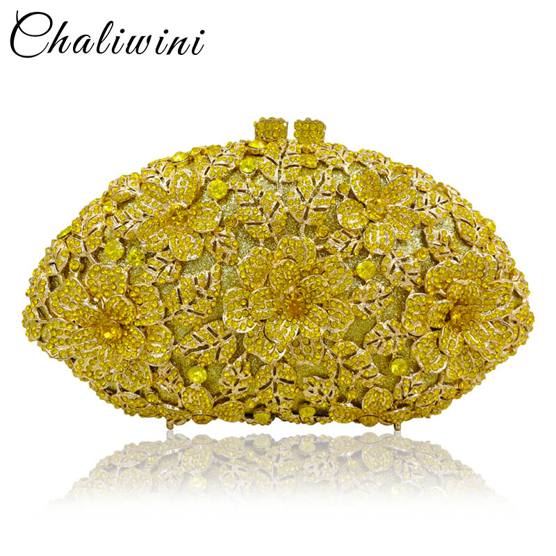 Chaliwini Dazzling Champagne Flower Crystal Clutch Evening Purse Bag Women Formal Dinner Handbag Wedding Bridal Purse