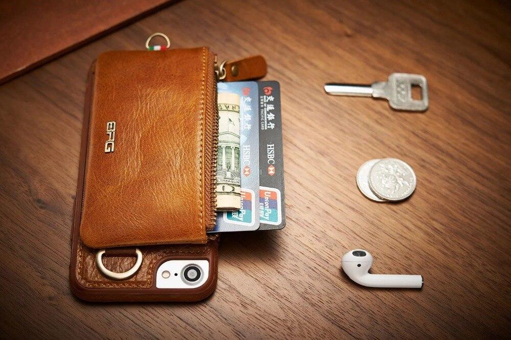 imágenes para BRG Portátil Cremallera Billetera de Cuero Genuino Fundas para Iphone 6 Plus con Colgando hebilla Folio Retro Fundas Para Iphone 7 Plus Hombres