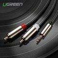 Ugreen rca hifi cabos jack 3.5mm para 2 rca cabo adaptador de áudio macho para macho aux cabo de nylon trançado para iphone mp3 amplificador dvd
