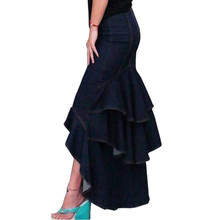 S-XXXL 2018 Primavera Verano moda Slim sirena estilo alta cintura larga  falda de mezclilla con borlas mujeres volantes falda col. aafb5bdd12cd