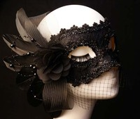 Beauty masquerade masks mask lace feather flower black princess halloween mask