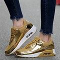Amantes de Los Zapatos Ocasionales de los hombres Zapatos de Deporte de Colchón de Aire de Malla Transpirable Cesta Entrenadores de Aumento de la Altura Zapatillas Hombre de Oro