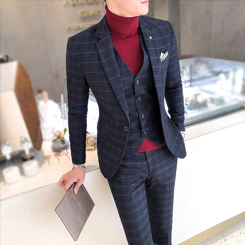 Asian size 2019 new men suits British style men suits 3 piece suit high quality  Single-breasted casual plaid printed slim suit(China)