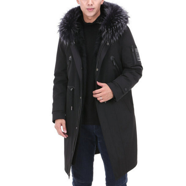 Special Price Real Fur Parka Men Winter Jacket Real Raccoon Fur Hooded Coat Natural Rabbit Fur Fleece Jacket Man Real Fur Long Male Clothing