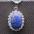 Natural Lapis Lazuli White Gold Plated Necklace Pendant Inlay AAA Cubic Zirconia Oval Pendant For W