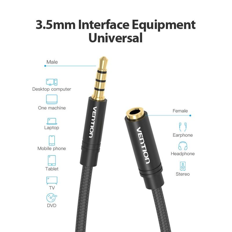 Image 5 - Vention Aux кабель Jack 3,5 мм аудио кабель удлинитель для huawei P20 стерео 3,5 Jack Aux Шнур адаптер для наушников Xiaomi samsung on AliExpress - 11.11_Double 11_Singles' Day
