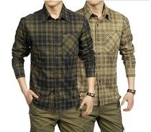 Camisa informal de algodón para hombre, 100% de manga larga, a cuadros, ejército, verde caqui, A0749