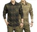 Primavera Otoño Hombres Ocasionales de la Camisa 100% de Algodón de Manga Larga camisetas masculinas Camisas de Tela Escocesa Verde Del Ejército de Color Caqui Ropa A0749 a