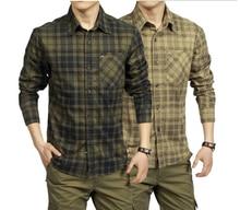 Spring Autumn Casual Men Shirt 100% Cotton Long Sleeve camisetas masculinas Plaid  Shirts Army Green Khaki Clothing A0749