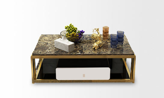 Natural Glass Stainless Steel Coffee Table Living Room Home Furniture Minimalist Modern Rectangle Mesas De Centro Table Basse