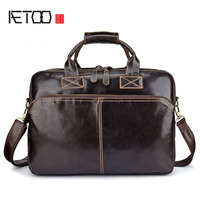AETOO New leather handbag oil wax leather computer briefcase retro multi-function shoulder slung business European and American