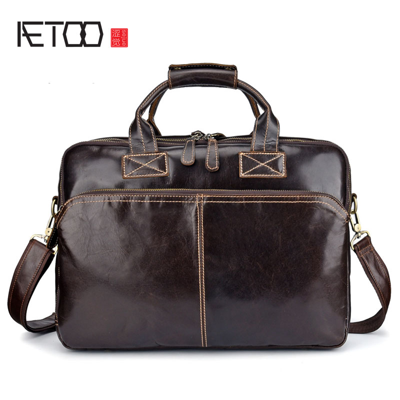 AETOO New leather handbag oil wax leather computer briefcase retro multi-function shoulder slung business European and American AETOO New leather handbag oil wax leather computer briefcase retro multi-function shoulder slung business European and American
