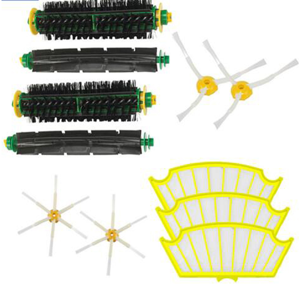 High Quality Bristle & Flexible Beater Brush Armed Filter kit  for iRobot Roomba 500 Series Vacuum Cleaner 520 530 540 550 560 3 armed side brush flexible beater brush bristle brush filter for irobot roomba 500 series vacuum cleaner accessory kit