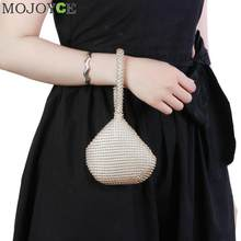 Golden Metal Clutch Bags for Women Ladies Small Fashion Day Clutches Pearl Beaded Purse for Dinner Party Metallic Handbags(China)