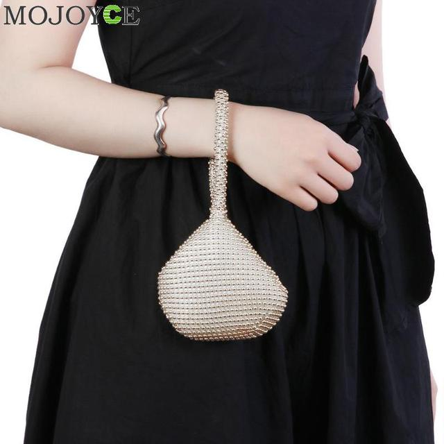 Golden Metal Clutch Bags for Women Ladies Small Fashion Day Clutches Pearl  Beaded Purse for Dinner Party Metallic Handbags-in Clutches from Luggage    Bags ... 30c2ca2cd56f