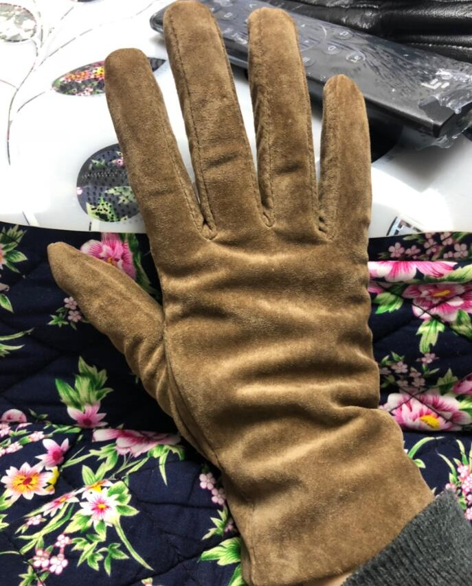 Women's Natural Leather Gloves Female Genuine Suede Leather Brief Solid Color Motorcycle Driving Gloves R752