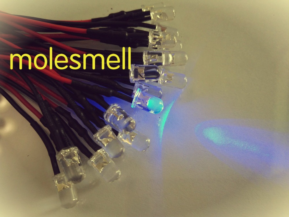 500pcs 5mm 24v Purple Water Clear Round LED Lamp Light Set 20cm Pre-Wired 5mm 24V DC Purple/uv Led