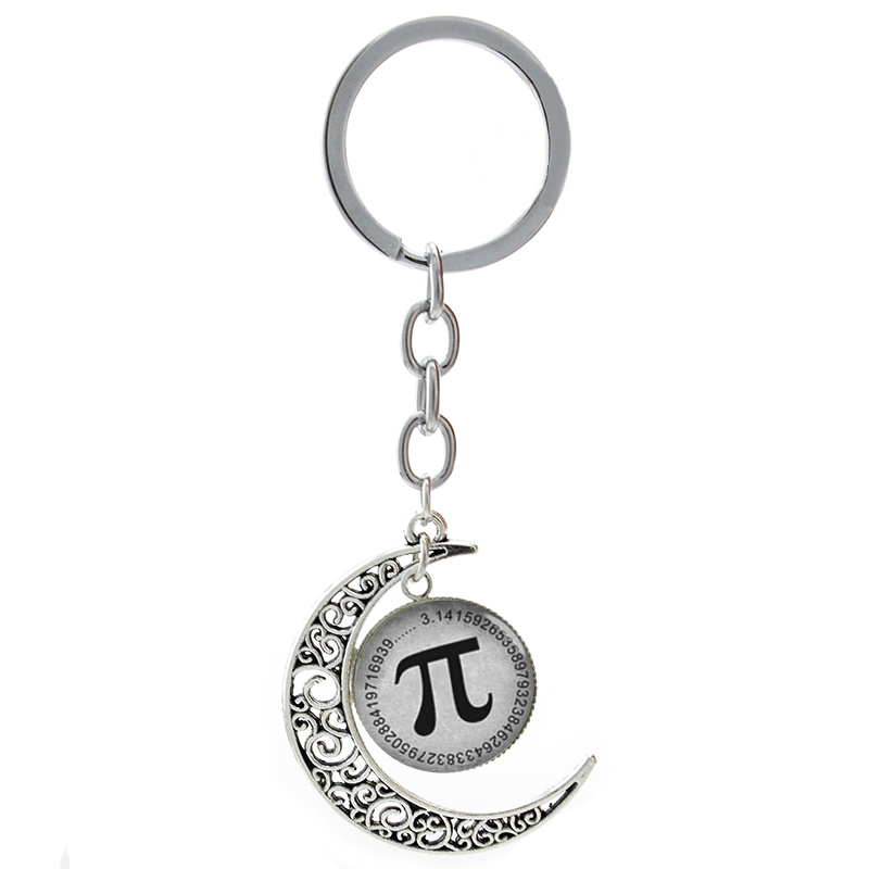 Vintage Math symbol Pi moon pendant keychain new Mathematical Pion Greek letter art school students teachers key chain ring T134