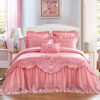 Pink Luxury Wedding Style Lace Embroidery 100% Jacquard Cotton Princess Bedding Set Duvet Cover Bed Sheet Bedspread Pillowcases