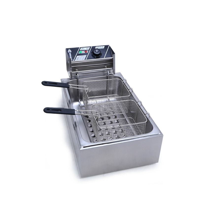купить Electric Deep Fryers Commercial thickening single - cylinder double sieve electric frying pan Fried chicken по цене 13955.49 рублей