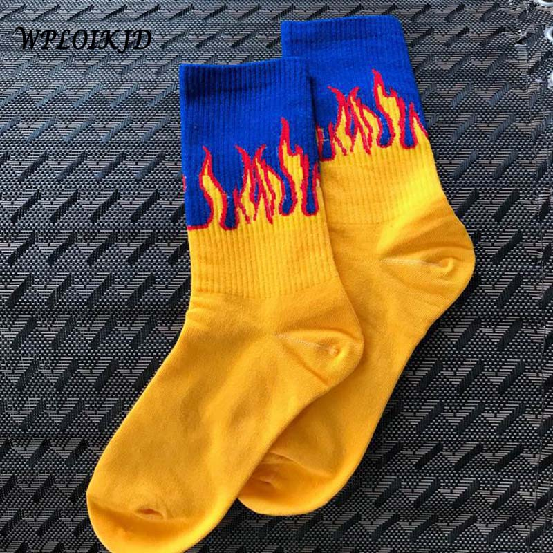 Unisex Flame Black White Yellow Fire Sokken Novelty Hip Hop Harajuku   Socks   Skateboard Calceines Mujer Street Skarpetki   Socks