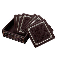 PREUP European Style Luxurious PU Leather Coffee Cup Mat Placemat Desktop Vintage Square Mug Cup Pads
