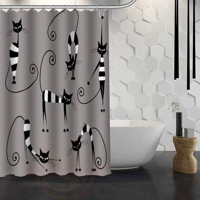 Hot Sale Custom Cartoon Cat Shower Curtain Waterproof Fabric For Bathroom FY1