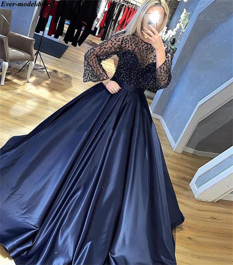 Navy Blue Illusion A-Line   Evening     Dresses   With Long Flare Sleeves Sequined Beading Sparkly Formal Celebrity   Dresses   Abendkleider